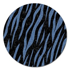 Skin3 Black Marble & Blue Denim Magnet 5  (round)