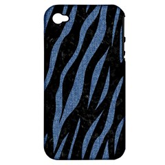 Skin3 Black Marble & Blue Denim Apple Iphone 4/4s Hardshell Case (pc+silicone) by trendistuff