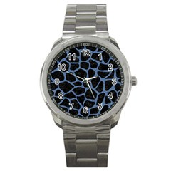 Skin1 Black Marble & Blue Denim (r) Sport Metal Watch by trendistuff