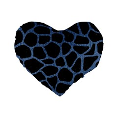 Skin1 Black Marble & Blue Denim (r) Standard 16  Premium Heart Shape Cushion  by trendistuff