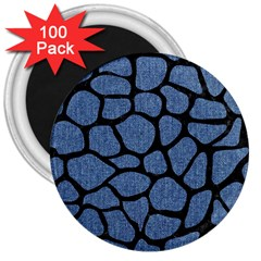 Skin1 Black Marble & Blue Denim 3  Magnet (100 Pack) by trendistuff