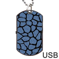 Skin1 Black Marble & Blue Denim Dog Tag Usb Flash (two Sides) by trendistuff
