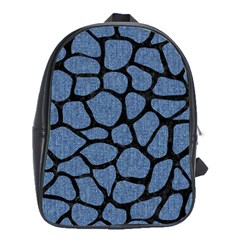 Skin1 Black Marble & Blue Denim School Bag (xl) by trendistuff