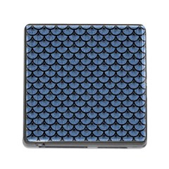 Scales3 Black Marble & Blue Denim (r) Memory Card Reader (square) by trendistuff