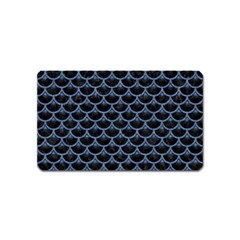 Scales3 Black Marble & Blue Denim Magnet (name Card) by trendistuff