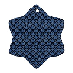 Scales2 Black Marble & Blue Denim (r) Snowflake Ornament (two Sides) by trendistuff