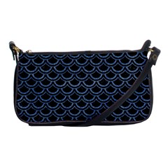 Scales2 Black Marble & Blue Denim Shoulder Clutch Bag by trendistuff