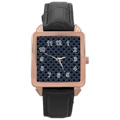 Scales2 Black Marble & Blue Denim Rose Gold Leather Watch  by trendistuff