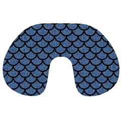 Scales1 Black Marble & Blue Denim (r) Travel Neck Pillow by trendistuff