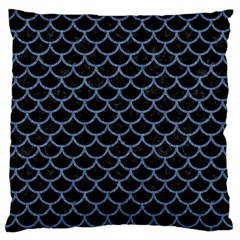 Scales1 Black Marble & Blue Denim Large Flano Cushion Case (one Side) by trendistuff