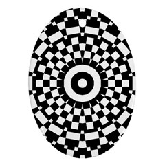 Checkered Black White Tile Mosaic Pattern Ornament (oval) by CrypticFragmentsColors