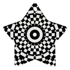 Checkered Black White Tile Mosaic Pattern Ornament (star) by CrypticFragmentsColors