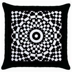 Checkered Black White Tile Mosaic Pattern Throw Pillow Case (black) by CrypticFragmentsColors
