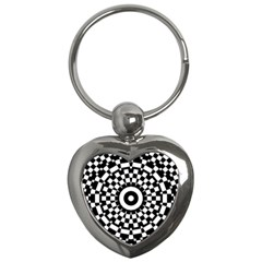 Checkered Black White Tile Mosaic Pattern Key Chains (heart)  by CrypticFragmentsColors