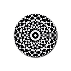 Checkered Black White Tile Mosaic Pattern Rubber Round Coaster (4 Pack)  by CrypticFragmentsColors