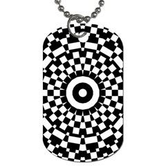 Checkered Black White Tile Mosaic Pattern Dog Tag (two Sides) by CrypticFragmentsColors