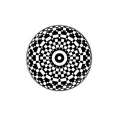 Checkered Black White Tile Mosaic Pattern Hat Clip Ball Marker by CrypticFragmentsColors