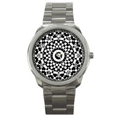 Checkered Black White Tile Mosaic Pattern Sport Metal Watch by CrypticFragmentsColors