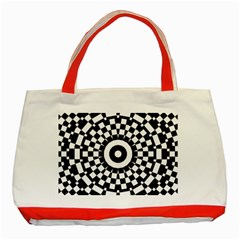 Checkered Black White Tile Mosaic Pattern Classic Tote Bag (red) by CrypticFragmentsColors