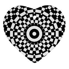 Checkered Black White Tile Mosaic Pattern Heart Ornament (two Sides) by CrypticFragmentsColors
