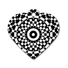 Checkered Black White Tile Mosaic Pattern Dog Tag Heart (one Side) by CrypticFragmentsColors