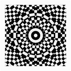 Checkered Black White Tile Mosaic Pattern Medium Glasses Cloth (2 Side) by CrypticFragmentsColors