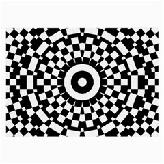 Checkered Black White Tile Mosaic Pattern Large Glasses Cloth by CrypticFragmentsColors