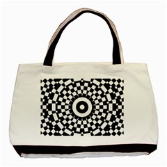 Checkered Black White Tile Mosaic Pattern Basic Tote Bag (two Sides) by CrypticFragmentsColors
