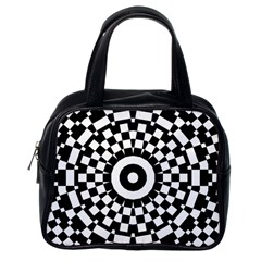 Checkered Black White Tile Mosaic Pattern Classic Handbags (one Side) by CrypticFragmentsColors