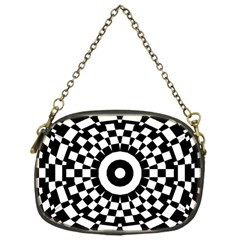 Checkered Black White Tile Mosaic Pattern Chain Purses (one Side)  by CrypticFragmentsColors