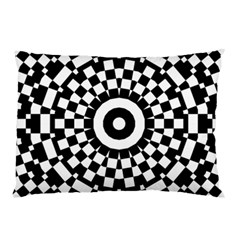 Checkered Black White Tile Mosaic Pattern Pillow Case by CrypticFragmentsColors