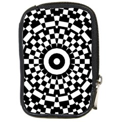 Checkered Black White Tile Mosaic Pattern Compact Camera Cases by CrypticFragmentsColors