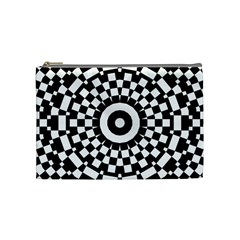 Checkered Black White Tile Mosaic Pattern Cosmetic Bag (medium)  by CrypticFragmentsColors