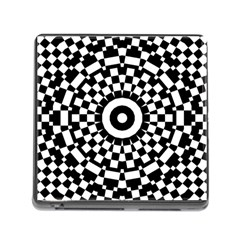 Checkered Black White Tile Mosaic Pattern Memory Card Reader (square) by CrypticFragmentsColors