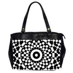 Checkered Black White Tile Mosaic Pattern Office Handbags (2 Sides)  by CrypticFragmentsColors