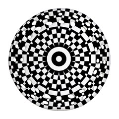 Checkered Black White Tile Mosaic Pattern Ornament (round Filigree) by CrypticFragmentsColors