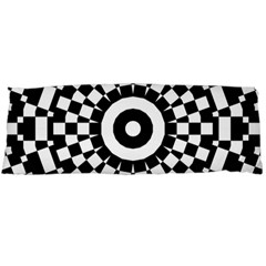 Checkered Black White Tile Mosaic Pattern Body Pillow Case (dakimakura) by CrypticFragmentsColors