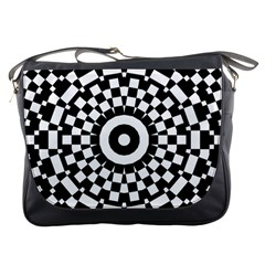 Checkered Black White Tile Mosaic Pattern Messenger Bags by CrypticFragmentsColors