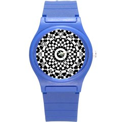 Checkered Black White Tile Mosaic Pattern Round Plastic Sport Watch (s) by CrypticFragmentsColors