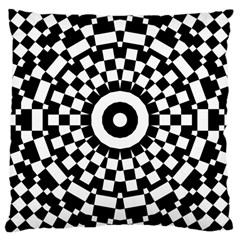 Checkered Black White Tile Mosaic Pattern Large Cushion Case (one Side) by CrypticFragmentsColors
