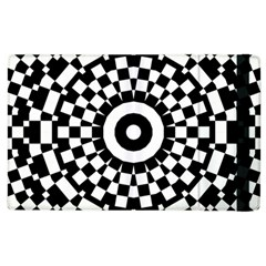 Checkered Black White Tile Mosaic Pattern Apple Ipad 3/4 Flip Case by CrypticFragmentsColors