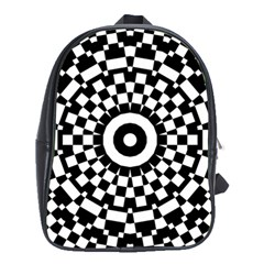 Checkered Black White Tile Mosaic Pattern School Bags (xl)  by CrypticFragmentsColors