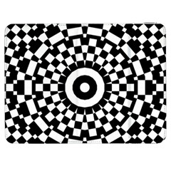 Checkered Black White Tile Mosaic Pattern Samsung Galaxy Tab 7  P1000 Flip Case by CrypticFragmentsColors