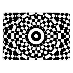 Checkered Black White Tile Mosaic Pattern Samsung Galaxy Tab 10 1  P7500 Flip Case by CrypticFragmentsColors