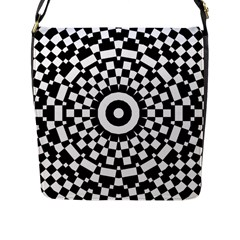 Checkered Black White Tile Mosaic Pattern Flap Messenger Bag (l)  by CrypticFragmentsColors