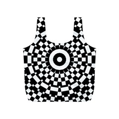 Checkered Black White Tile Mosaic Pattern Full Print Recycle Bags (s)  by CrypticFragmentsColors