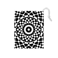 Checkered Black White Tile Mosaic Pattern Drawstring Pouches (medium)  by CrypticFragmentsColors
