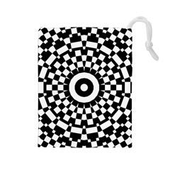 Checkered Black White Tile Mosaic Pattern Drawstring Pouches (large)  by CrypticFragmentsColors