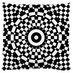 Checkered Black White Tile Mosaic Pattern Large Flano Cushion Case (Two Sides) Back