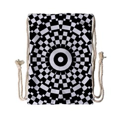 Checkered Black White Tile Mosaic Pattern Drawstring Bag (small) by CrypticFragmentsColors